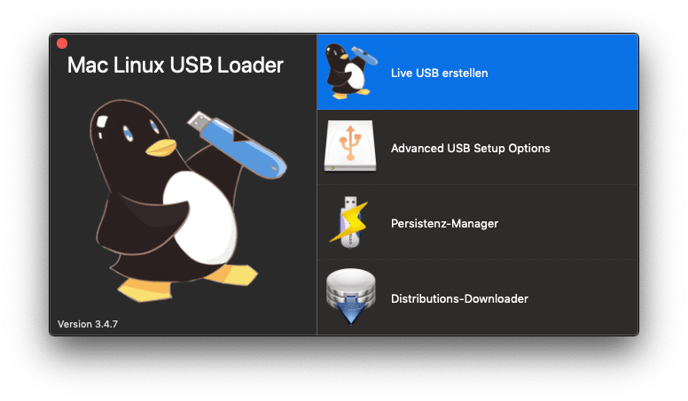 The main screen of Mac Linux USB Loader, showing its logo and various options.
